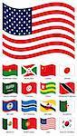 Vector Flag Collection. Burckina faso, burundi, china, japan, saudi arabia, tunisia, togo, trinidad tobago, botswana, brunei, belize, algeria, mexico, portugal, usa, south korea