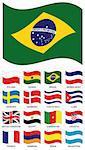 Vector Flag Collection. Poland, ghana, brazil, serbia montenegro, sweden, denmark, costa rica, cuba, united kingdom, egypt, cameroon, croatia, france, armenia, spain, argentina