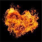 fiery heart on black background