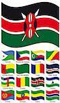 Vector Flag Collection. Cape Verde; Central African; CHAD; Comores; Congo; Djibouti; Equatorial Guinea; Eritrea; Ethiopia; Gabon; Gambia; Guinea-Bissau; Guinea; Kenya; Lesotho; Libyan Arab Jamahiriya