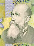 Nicolae Iorga on 1 Leu 2005 Banknote from Romania.  Historian, poet, playwright, memorialist, university professor, and politician.