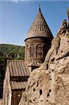 Old UNESCO object Geghard monastyr - Armenia summer day.
