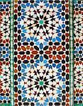 walll tiles at Ali Ben Youssef Madrassa in Marrakech, Morocco