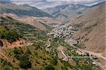City in valley, aerial view on Kajaran in  Armenia.