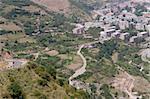 Kajaran city in Armenia, aerial view on city on valley