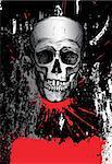 Hand drawn human skull on dark grunge background