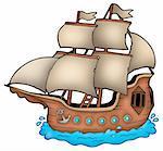 Old ship on white background - color illustration.