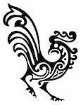 illustration of ornamental rooster, vector format