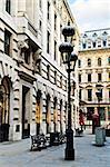 Old buildings on pedestrian street in city of London