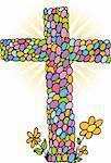 Cross in shape of eggs for Easter Sunday.