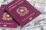 Background photo of  italian passports on dollars banknotes
