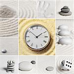 Collage - Japanese garden of stones. Watch.