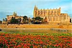 Cathedral and La Almudaina Palace in Palma de Mallorca, Spain