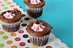 polka dot raspberry filled cupcakes