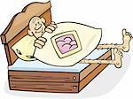 Cartoon illustration of man in too short bed