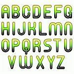 green shiny glossy 3d child funny bubble alphabet