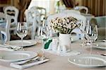Fine table setting in beatiful gourmet restaurant