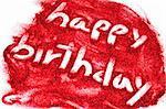 sentence happy birthday written on red glitter