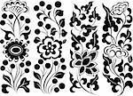 flower leaf scroll border element design
