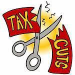 An image of a scissors cutting a tax cut paper.