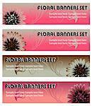 floral design web banners site elements set