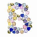 Gemstones alphabet, letter B. Isolated on white background.