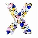 Gemstones alphabet, letter X. Isolated on white background.