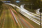 Highway with many car at night in hong kong