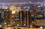 Modern city night with high buildings in Taipei, Taiwan, Asia.