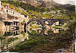 Old pictorial Rijeka Crnojevica town in Croatia. Artistic picture