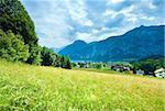 Beautiful summer Alpine  lake Hallstatter See view (Austria)