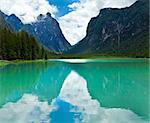 Beautiful summer Alpine  lake Toblach view (Italy)