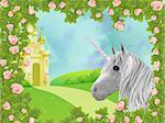 Illustration of unicorn in frame of roses