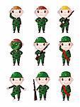 cartoon Soldier icons set