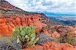 Rocky desert landscape with cloudy skies near Sedona, Arizona