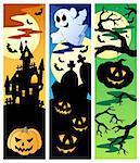 Halloween banners set 5 - vector illustration.