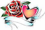 heraldic ribbon heart tattoo emblem