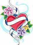 classic heart flower emblem tattoo