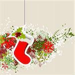 Hanging Santa sock with modern Christmas decorations