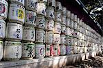 Japan, Tokyo, Harakuju, Yoyogi park, barrels of sake