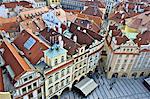 République tchèque, Prague, vue sur le square de la tour de l'horloge de la mairie