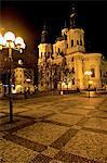 Czech Republic, Prague, Saint Nicolas church by night