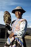 Peru, Colca canyon, man and his falcon