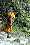 Peru, province of Urubamba, Aguas Calientes, boy descending incas road
