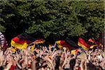 Detail der Personen in einer Menschenmenge, die deutsche Fahnen winken