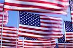 US flags wave against blue sky.