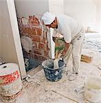 Baustelle, Gipsergeschäft am Arbeitsplatz