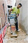 Baustelle,-Generator mithilfe eines rammer