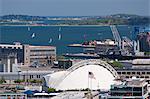 Buildings at a harbor, Boston Harbor, Boston, Massachusetts, USA