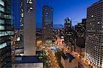 High angle view of a city at dusk, Boston, Massachusetts, USA